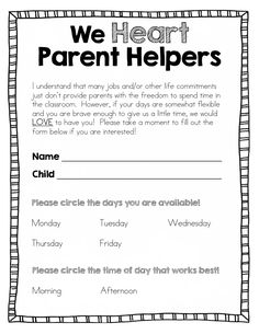 A great post about parent volunteers in the classroom and FREEBIE volunteer forms.