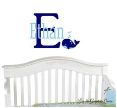 Whale Wall Decal  Childs Name and Initial Monogram Wall Decal  Customize Bedroom Nursery with Aquatic Theme Wall Decal