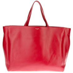 Saint Laurent Red Leather and Suede Shopping Tote