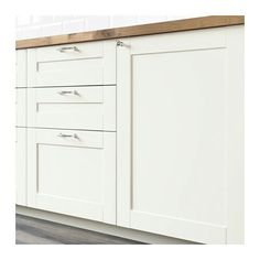 Close up of Savedal doors from IKEA with timber bench top