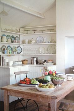 Open shelving in the kitchen keeps everything within easy arm's reach and you can display your pretty dishes. However, probably not a good idea if you have cats! Think ahead about what you want, and if it's practical for your life-style.
