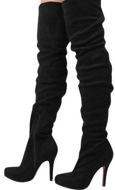 Black Thigh-High Sued Boots - oh the places you'll go ;)