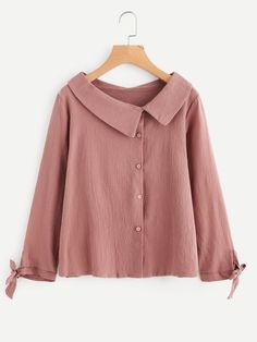 SheIn offers Asymmetric Collar Tie Cuff Shirt & more to fit your fashionable needs. Collar Designs, Blouse Designs, Stylish Dresses, Stylish Outfits, Hijab Fashion, Fashion Outfits, Fashion Fashion, Designs For Dresses, Vestidos Vintage