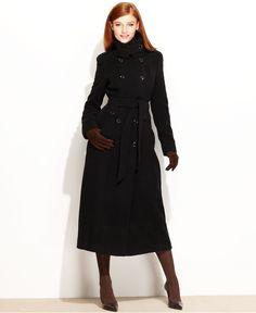 Calvin Klein Coat, Military Belted Wool-Blend Maxi - Womens Coats - Macy's