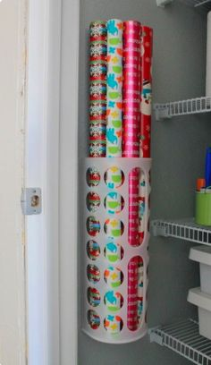 10 Easy and Creative Wrapping Paper Storage Solutions Looking for some ways to organize your gift wrap? Try one of these 10 easy wrapping paper storage solutions so that you can find it when you need it. Organisation Hacks, Coat Closet Organization, Ikea Closet Organizer, Craft Organization, Organizing Ideas, Organizing Bathroom Closet, Organizing Cleaning Supplies, Organization Ideas For The Home, Apartment Kitchen Organization