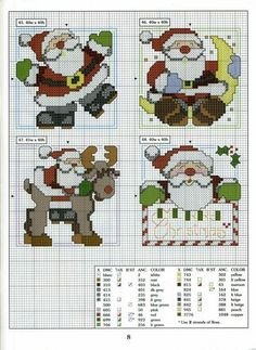 From beginning to end, cross stitch, patchwork, felt and Cross Stitch Christmas Cards, Santa Cross Stitch, Christmas Cross, Counted Cross Stitch Patterns, Cross Stitch Charts, Cross Stitch Designs, Cross Stitch Embroidery, Cross Stitch Needles, Theme Noel