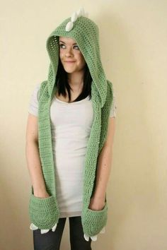 Dino hooded scarf