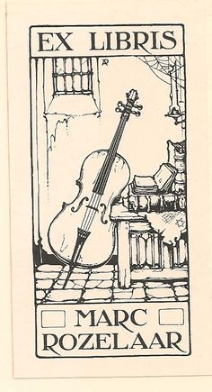 Anton Pieck (1895-1987), Dutch / bookplate for Marc Rozelaar ... depicts cello and stack of old books on chest in old house