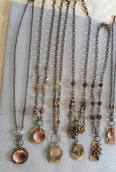 Carnelian Sol Designs Mixed Metals necklaces. Hammered & embossed copper & brass Jewelry Ideas, Diy Jewelry, Bohemian Jewelry, Boho, Mixed Metals, Carnelian, Metal Stamping, Metal Jewelry, Bliss