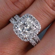 Hand Crafted Bridal Wedding Set Cushion Cut Halo Pave Natural Diamond Engagement Ring Gia Certified By Diamondmansion On Etsy