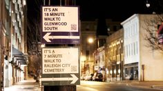 guerrilla wayfinding in Raleigh, North Carolina (We need this in WA state - worst use of signage I've seen! Directional Signage, Wayfinding Signs, Custom Street Signs, City Branding, New Urbanism, Urban Intervention, Walking Routes, Built Environment, Urban Planning