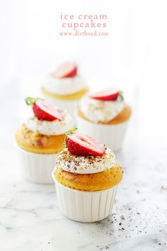 Ice Cream Filled Vanilla Cupcakes | www.diethood.com | Sweet Vanilla Cupcakes are filled with Vanilla Ice Cream and topped with a Whipped Cream Frosting. | #recipe #cupcakes #icecream