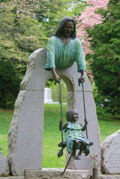 """Sami Swings,"" dedicated to young Samantha Ann ""Sami"" McDonald, is placed at the Cave Hill Cemetery, Louisville, Kentucky. A smiling Jesus holds the ropes of three-year-old Sami. On May 2nd, 2006, the last time her family saw her was swinging and singing her favorite song ""Jesus Loves Me."" Sadly, she later drowned in the family swimming pool, falling in with her tricycle."