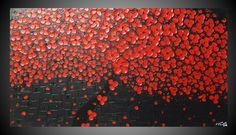 SALE Tree Painting Red Blossom Wall Deco Abstract Acrylic Painting Wall Art Deco on Large Canvas 44 x 24 Ready to Hang by ilonka