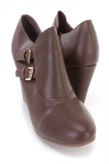 Brown Buckle Accent Wedge Booties Faux Leather