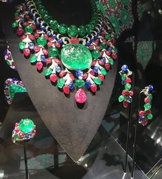 """CARTIER. """"Rajasthan"""" Necklace - platinum, one 136,97- carat emerald from Colombia, emeralds, rubies, sapphires, brilliant-cut diamonds. Part of a gorgeous parure."""