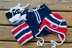 HOCKEY BABY OUTFIT Grandmabilt Boys Navy Blue, Red & White Hockey Hat, Pants, Socks, Skate Booties, Knit Hockey Baby Hat, Knit hockey Skates by Grandmabilt on Etsy
