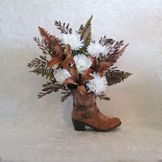 Silk Flower Arrangement with Mums and Lilies in a Cowboy Boot Vase, Country Home Decor, Cowboy Boot Bouquet, Rustic Home Decor