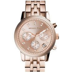 Women's Michael Kors 'The Ritz' Chronograph Bracelet Watch, 36mm ($245) ❤ liked on Polyvore featuring jewelry, watches, accessories, bracelets, swarovski crystal watches, chrono watch, chronograph wrist watch, watch bracelet and golden jewelry