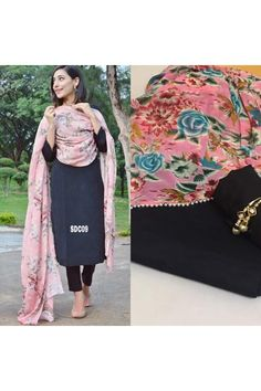 Bollywood Inspired : Party Wear Black & Pink Salwar Suit -  SDC09 Black Salwar Suit, Salwar Suits, Patiala, Salwar Kameez, All Black Dresses, Eid Collection, Online Collections, Wearing Black, Anarkali