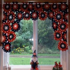 Crocheted flower valance for kitchen window, in #Auburn colors (orange & blue). #WarEagle #crochet