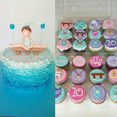 Gymnastics birthday cake & cupcakes. Blue ombre cake. Blue ruffle cake.