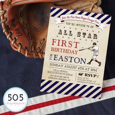 Vintage Baseball Invitation - Printable Baseball Party Invitation by 505 Design