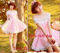 Kawaii-Princess-Cute-Sweet-Dolly-Lolita-Lace-Cape-Sleeve-off-shoulder-Dress-Pink