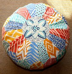 Quadrille Morrocan Pouf Cover - China Seas - Adam Campbell - One of a Kind. $475.00, via Etsy.