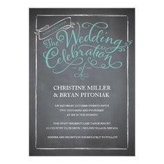 Chalkboard Wedding Invitation Chalkboard Script Blue Wedding Invitation