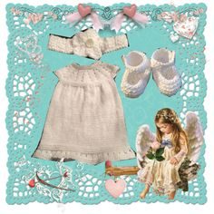 Knitted Baby Dress Set, White, Knitted Baby Girl Set, Knitted Newborn Dress, 0-3 mths, Baby Set, Knitted Dress, Shoes, Headband,Diaper Cover by charmedheartz on Polyvore featuring handmade, CozeeQuilts and etsygiftideas