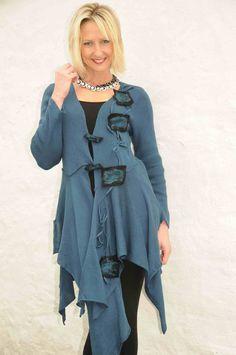 Zuza Bart teal asymmetric knitted jacket.992