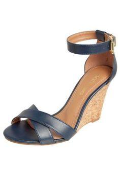 Sandália Anabela Dafiti Shoes Azul Marinho