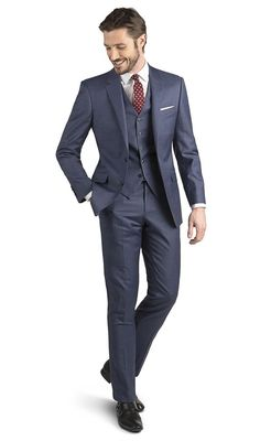 Mills Blue Sharkskin 2-Button Slim Fit Suit,