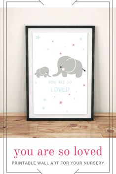 Elephant Print, You Are So Loved, Pastel Colors Wall Art, Kids Room Decor, Nursery Poster, Minimalist Childrens Art, Instant Download #elephants #youaresoloved #ad #wallart #nursery #babyshower