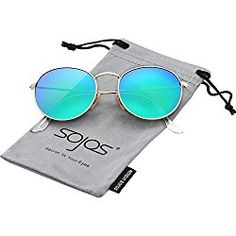 b6afdd9632c6 SojoS Small Round Polarized Sunglasses Mirrored Lens Unisex Glasses 3447  With Gold Frame Green Mirrored Lens  Clothing