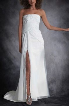 Strapless Crossed Ruched Thigh Slit Wedding Dress