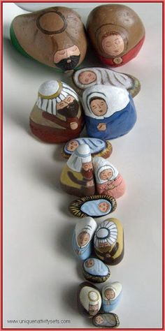 Painted Rock Nativity Sets - An Alternative to Traditional Christmas Decor...how cool are these rocks???