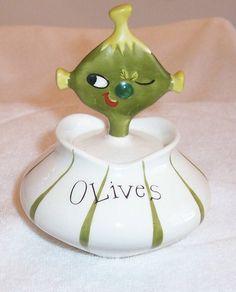 1958 Holt Howard Olives Pixieware Jar