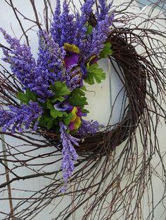 Spring Front Door Wreaths, Autumn Wreaths, Holiday Wreaths, Purple Wreath, Green Wreath, Floral Wreath, Mothers Day Wreath, Outdoor Wreaths, Twig Wreath