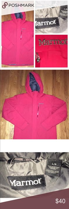 Marmot Full Zip Hooded Insulated Ski Jacket Large This listing is for a marmot men's red hooded Nylon insulated ski jacket. It's a size large and in excellent condition with zip pockets and marmot on the left chest. Marmot Jackets & Coats Ski & Snowboard