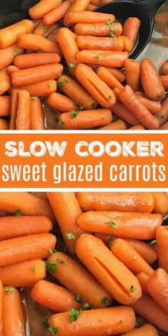 Slow Cooker Sweet Carrots Side Dish Recipe Crock Pot Recipe Only 5 ingredients needed for these sweet carrots that are made right in the slow cooker Perfect side dish. Crockpot Carrots, Carrots Slow Cooker, Vegetable Slow Cooker, Crock Pot Vegetables, Veggies In Crockpot, Crockpot Side Dishes, Crock Pot Cooking, Vegetable Side Dishes, Side Dish Recipes