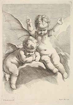 Jacques Gabriel Huquier French 1730 1805 Two Cupids One with Bat Wings After Fran ois Boucher French 1703 1770 The Metropolitan Museum of Art New York The Elisha Whittelsey Collection The Elisha Whittelsey Fund 1957 57 559 39 4 Metropolitan Museum, Art Sketches, Art Drawings, Vintage Illustration, Cherub Tattoo, Angel Art, Bat Wings, Angel Wings, Religious Art