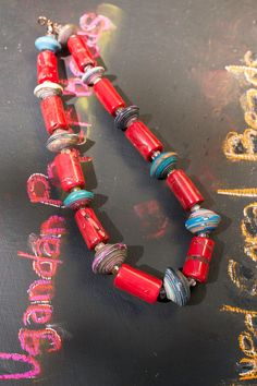 Red Bamboo Coral and Ugandan Paper Bead Necklace