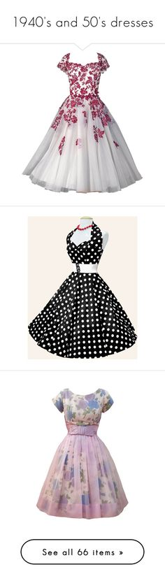 """1940's and 50's dresses"" by therealmadhatter ❤ liked on Polyvore featuring dresses, gowns, vestidos, short dresses, short red dress, mini dress, red polka dot dress, red mini dress, pink polka dot dress and purple"