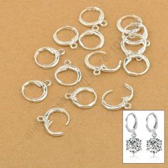 Pretty Handmade Jewelry Findings 20PCS(10Pair) Real Pure 925 Sterling Silver Earrings Jewellery Leverback Ear Earwires 12MM
