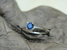 Blue Sapphire Promise Ring in Sterling Silver - Sapphire Sterling Silver Gemstone Ring - 4mm Lab Created Sapphire on Etsy, $24.00
