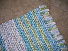 Hand Crocheted Rag Rug - Rectangle with Fringe