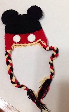 Mickey Mouse Crochet Knit Hat Handmade Yarn Baby Infant Child Red Black Yellow