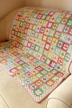 Small 3 round squares with join as you go ... Notice the 2nd round is always a pale colour